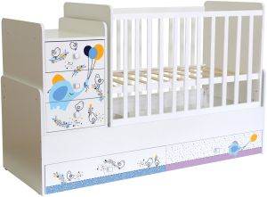 Polini Kids 'Simple 1100' Kombi-Kinderbett 60 x 120/170 cm, weiß, Elefant, höhenverstellbar, mit Schaukelfunktion, inkl. Kommode