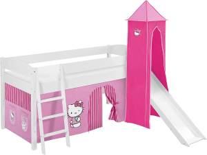 Lilokids 'Ida 4105' Spielbett 90 x 200 cm, Hello Kitty Rosa, Kiefer massiv, mit Turm, Rutsche und Vorhang