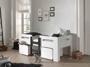 Vipack Luca Einzelbett 90 x 200 cm in 80 cm Höhe, Weiß