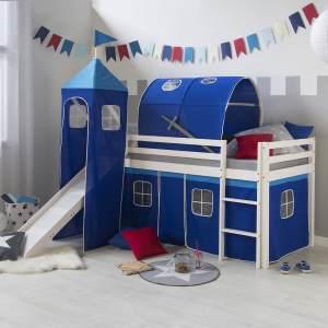 Hochbett Spielbett Kinderbett Rutsche Turm Vorhang blau 90x200 Jugendbett Tun