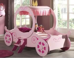 Royal Princess Kate Kutschenbett Kinderbett Spielbett Bett 90x200 cm Rosa, inkl. Matratze Soft