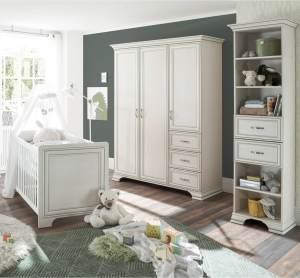 Babyzimmer Set 3 teilig mit Schlupfsprossen VALENCIA-78 in Used White mit Patina
