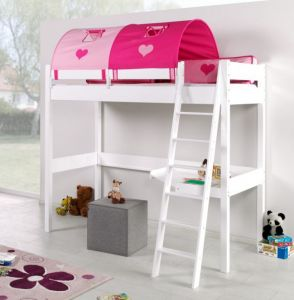 Relita 'RENATE' Multifunktionsbett mit Schreibtisch Weiß, Stoffset Pink/Herz mit Matratze