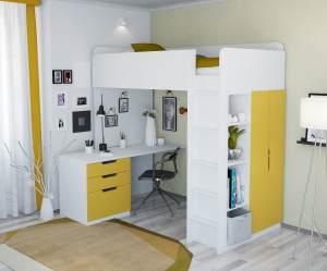 Polini Kids Funktions-Hochbett weiß/gelb, inkl. Kleiderschrank und Schreibtisch