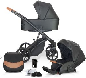 Knorr Baby 'PADUA' Kombikinderwagen 2 in 1 Schwarz/ Cognac inkl. Sitz, Babywanne, Wickeltasche, Wetterschutz