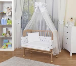 WALDIN Beistellbett mit Matratze und Nestchen, höhenverstellbar, Ausstattung Sterne-grau/blau, Gestell Natur unbehandelt