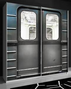 """FORTE 'Plakato' Schwebetürenschrank weiß mit Motivdruck Metro"""" 170 x 190 cm"""""""