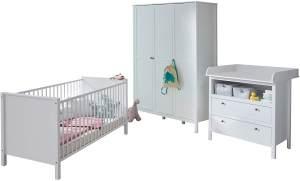 trendteam smart living Babyzimmer 3-teiliges Komplett Set in Weiß mit viel Stauraum