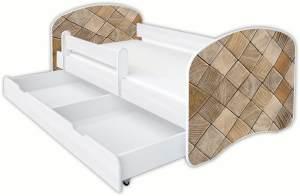 Clamaro 'Schlummerland Dekor' Kinderbett 80x180 cm, Design 17, inkl. Lattenrost, Matratze, Rausfallschutz und Schublade