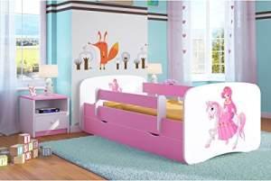 Kocot Kids 'Prinzessin auf dem Pony' Einzelbett pink/weiß 80x180 cm inkl. Rausfallschutz, Matratze, Schublade und Lattenrost