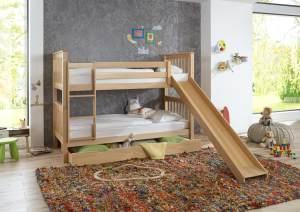 Relita 'Kick' Etagenbett 90x200 cm, natur, mit Rutsche, inkl. Lattenroste und Bettkastenschublade