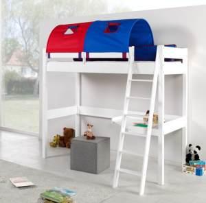 Relita 'RENATE' Multifunktionsbett mit Schreibtisch, weiß Stoffset Blau/Rot mit Matratze