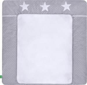 LULANDO Wickelauflage mit 2 abnehmbaren und wasserundurchlässigen Bezügen 75x85 cm - Grau/Weiße Pünktchen und Sterne