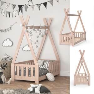 VitaliSpa 'Tipi' Kinderbett, Natur, 70 x 140 cm, inkl. Rausfallschutz und Lattenrost, Buche massiv