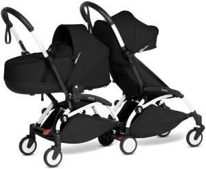 Babyzen YOYO2 weißer Rahmen mit CONNECT komplett für 1 Neugeborenes und 1 Kind von 6 Monaten + Farbe schwarz