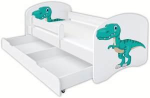Clamaro 'Schlummerland Dinosaurier' Kinderbett 80x180 cm, Design 10, inkl. Lattenrost, Matratze, Rausfallschutz und Schublade