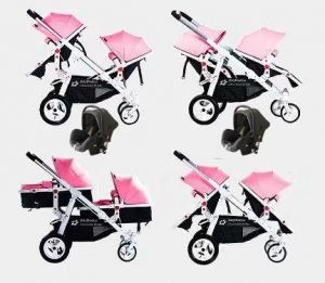 Babyfivestar Geschwisterwagen Pink inkl. 2 Babyschalen