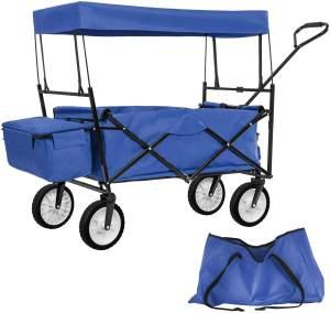 tectake Faltbarer Bollerwagen mit Dach und Tragetasche