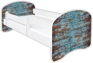 Clamaro 'Schlummerland Dekor' Kinderbett 80x180 cm, Design 7, inkl. Lattenrost, Matratze und Rausfallschutz (ohne Schublade)