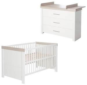 "Kindermöbelset ""Lucy' – 2-teilig, inkl. Kombi-Kinderbett 70 x 140 cm & Wickelkommode breit"