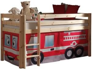 Pino Hochbett 3 Natur lackiert 90x200 cm Feuerwehr Soft
