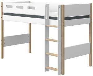 Flexa 'Nor' Mittelhochbett mit gerader Leiter 90 x 190 cm