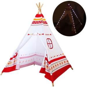 Kinderzelt mit LED-Beleuchtung, Stoffzelt mit Holzstangen, Tipi weiß/rot