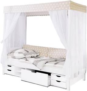 Ticaa 'Beige' Himmelbett 310 weiß inkl. Bettkasten 'Marlies' 90x200