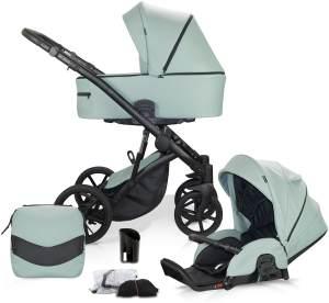 Knorr Baby 'PADUA' Kombikinderwagen 2 in 1 Mintgrün inkl. Sitz, Babywanne, Wickeltasche, Wetterschutz