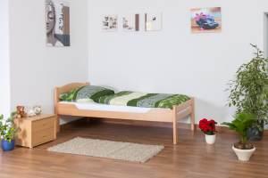 EinzelbettEasy Premium Line K1/2n, Buche Vollholz massiv Natur - Maße: 90 x 200 cm