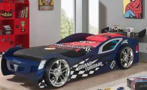 Grand Turismo Autobett Kinderbett Spielbett Bett 90x200 cm Blau, inkl. Matratze Basic