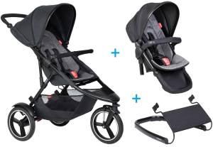 phil&teds dash Kinderwagen - 3 für 1 Vorteilspaket charcoal