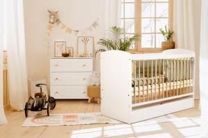 Komplett-Set Wickelkommode Babybett Gitterbett 60x120 mit Schublade und Matratze | Made in Europe