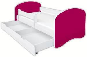 Clamaro 'Schlummerland UNI' Kinderbett 70x140 cm, Tief Rot, inkl. Lattenrost, Matratze, Rausfallschutz und Schublade
