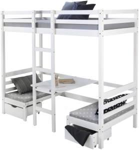 Kinderbett Hochbett 90x200 weiß Schreibtisch Etagenbett + Sitzkissen grau
