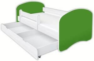 Clamaro 'Schlummerland UNI' Kinderbett 70x140 cm, Grün, inkl. Lattenrost, Matratze, Rausfallschutz und Schublade