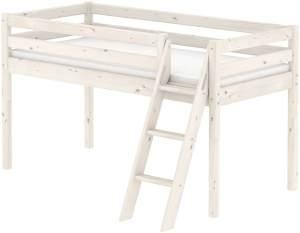 Flexa 'Classic' Halbhochbett weiß, schräge Leiter, 90x190cm