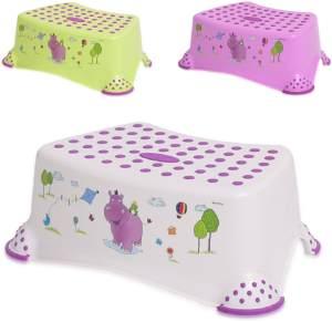 Lorelli einstufiger Kinder Badhocker Hippo, Tritthocker rutschfest, Gummi-Noppen, Farben:weiß
