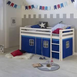Hochbett Spielbett Kinderbett Leiter Kiefer Vorhang blau 90x200 Jugendbett