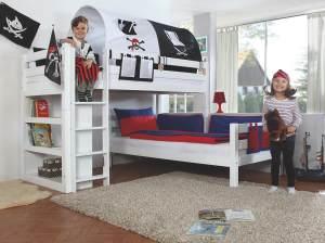 Relita Etagenbett BENI L Buche massiv weiß lackiert, 2 Liegeflächen über Eck, mit Stoffset Pirat