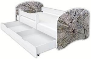 Clamaro 'Schlummerland Dekor' Kinderbett 80x180 cm, Design 13, inkl. Lattenrost, Matratze, Rausfallschutz und Schublade