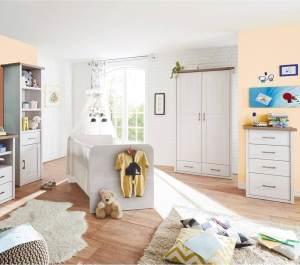 Babyzimmer Kombination LUND-78 im Landhaus Design in Pinie weiß Nb. /Trüffel Eiche Nb.