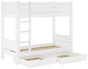 Erst-Holz Etagenbett Kiefer weiß 100x200 teilbar 2 Rollroste Bettkästen