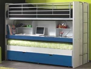 Bonny Etagenbett Doppelbett Hochbett Bett Bettgestell 90 x 200 cm Weiß / Blau Basic (2 Stk. )