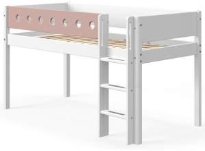 Flexa White Halbhochbett mit gerader Leiter 90 x 190 cm Weiß / Rosa