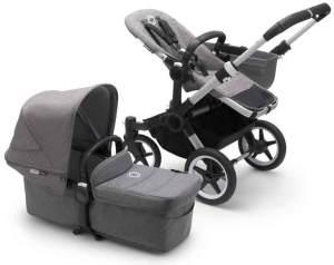 Bugaboo Donkey3 Mono Kinderwagen Set 3 in 1 inkl. Cybex Aton 5 Babyschale Alu / Grau / Grau Meliert Deep Black
