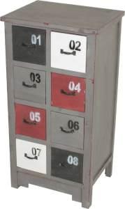 Design Kommode aus Holz mit 8 farbigen Schubkästen