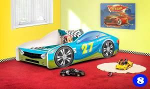 Lux4Kids Autobett 70x140 cm, Blue Green, mit Matratze und Lattenrost