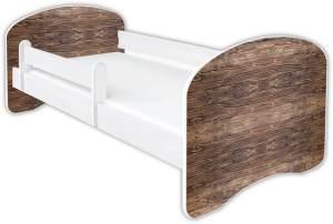 Clamaro 'Schlummerland Dekor' Kinderbett 70x140 cm, Design 14, inkl. Lattenrost, Matratze und Rausfallschutz (ohne Schublade)