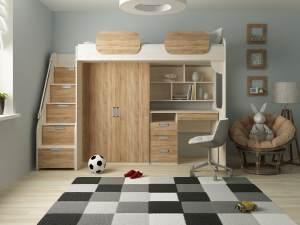Kinder Komfort 'Geko' Schrankbett, Rustikal hell, 90x200 cm, mit Kleiderschrank und Schreibtisch